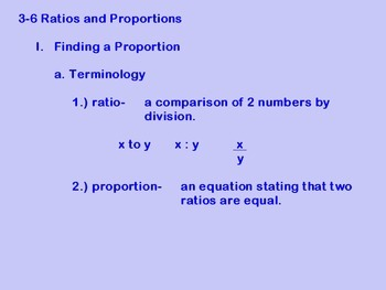 Solving Ratios and Proportions