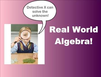 Solving Real World Algebra Equations Smartboard Lesson
