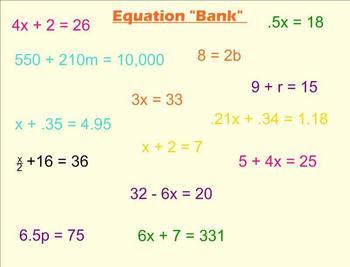 Solving Real World Algebra Equations Smartboard Lesson