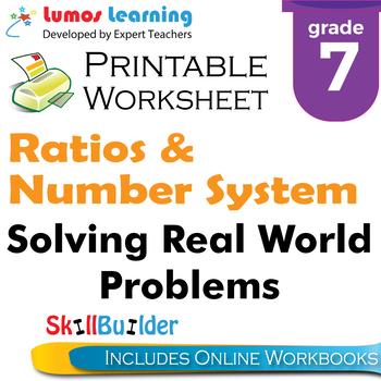 Solving Real World Problems Printable Worksheet, Grade 7