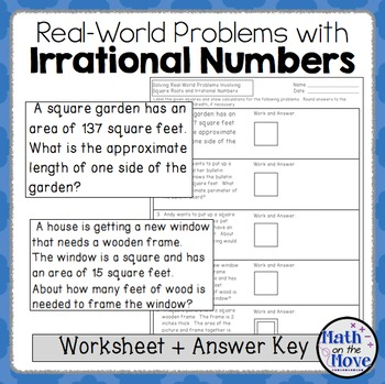 Irrational Numbers and Real World Problems - Worksheet (8.NS.2)