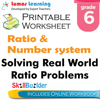 Solving Real World Ratio Problems Printable Worksheet, Grade 6