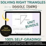 Solving Right Triangles Bundle |Trigonometry and Pythagorean |12 Google Forms™