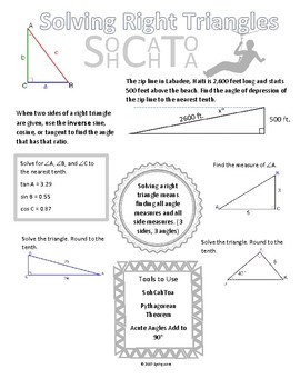 Solving Right Triangles Doodle Notes