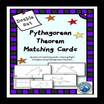 Solving Right Triangles using Pythagorean Theorem Matching Card Bundle