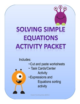 Solving Simple Equations Activity Packet