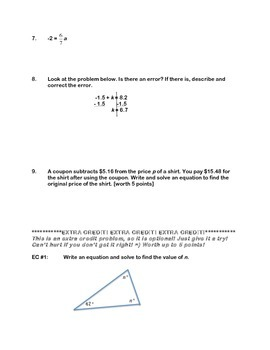 Solving Simple Equations Assessment