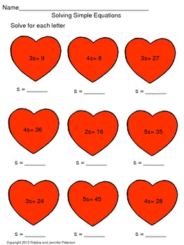 Solving Simple Equations {Heart Theme}