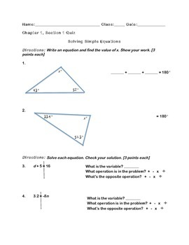 Solving Simple Equations Modified Assessment