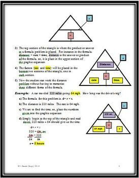 Solving Simple Math Formula Problems Using a Triangular Graphic Organizer