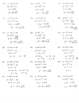 Solving Simple Quadratic Equations (x+3)^2=9 practice for completing the square