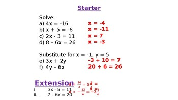 Solving Simultaneous Equations Lessons