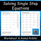Solving One-Step Equations Animal Riddle Activity