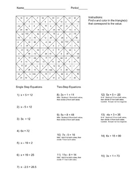 Solving Single and Two Step Equations Color Worksheet