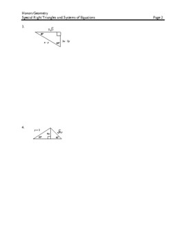 Solving Special Right Triangles containing a System of Equations