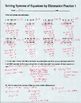 Solving Special Systems of Equations Practice 1