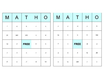 Solving Square Root Equations - MATHO (Math BINGO!)