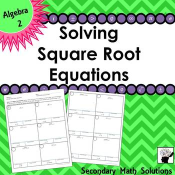Solving Square Root Equations Practice Activity (2A.4F)