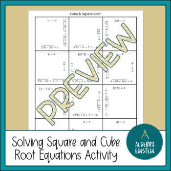 Solving Square Root and Cube Root Equations Puzzle Sheet by Algebra ...