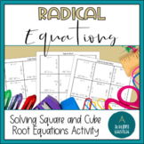 Solving Square Root and Cube Root Equations Puzzle Sheet