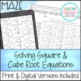 Solving Square and Cube Root Equations Worksheet - Maze Activity