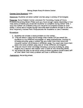 Solving Story Problems Center- Baseball Theme