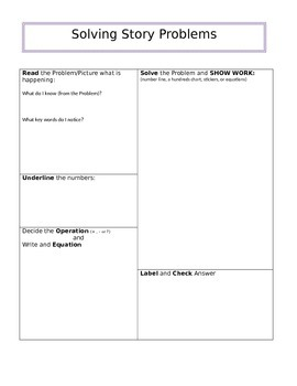 Solving Story Problems- Graphic Organizer
