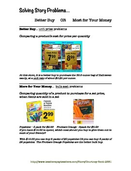 Solving Story Problems Stations - Better Buy or More for Your Money Using Rates