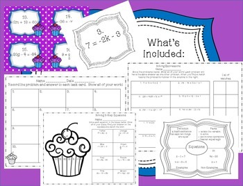 Solving Sweet 2-Step Equations Math Packet with Cupcakes
