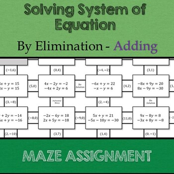 Solving System of Equations by Elimination - Adding Maze