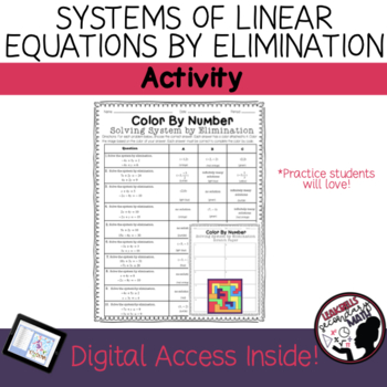 Solving System of Equations by Elimination | Color By Number