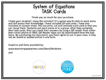 Solving System of Equations by Graphing QR Code Task Cards TEK 8.9