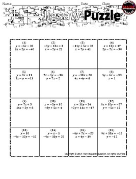 Solving System of Equations by Substitution Jigsaw Puzzle