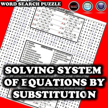 Solving System of Equations by Substitution Wordsearch Puzzle
