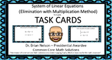 Solving System of Equations using Elimination with Multiplication Task Cards