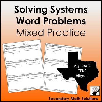 Solving Systems Word Problems Mixed Practice (A5C)