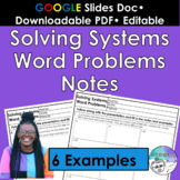 Solving Systems Word Problems Notes