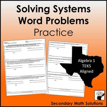 Solving Systems Word Problems Practice