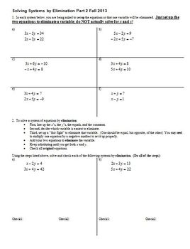 Solving Systems by Elimination Part 2 Fall 2013