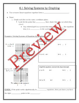 Solving Systems by Substitution Guided Notes, Powerpoint, Homework included