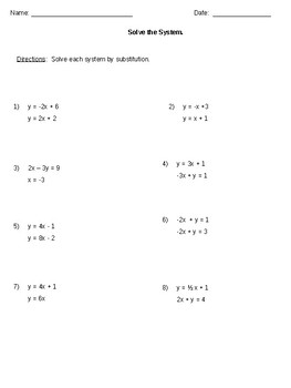 Solving Systems by Substitution 8.EE.C.8