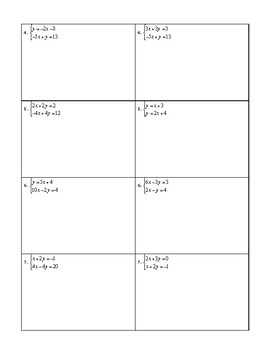 Solving Systems by Substitution Partner Row Activity