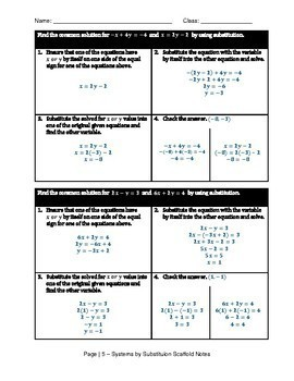 Solving Linear Systems by Substitution Scaffold Notes