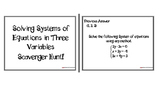 Solving Systems in Three Variables Scavenger Hunt