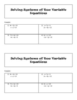 Solving Systems of 2 Equations/2 Variables with Technology
