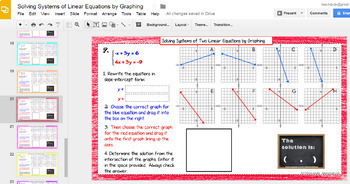 Solving Systems of 2 Linear Equations by Graphing with GOOGLE Slides