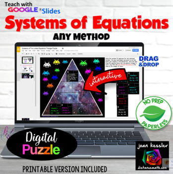 Systems of Equations with Aliens Puzzle with GOOGLE Slides™