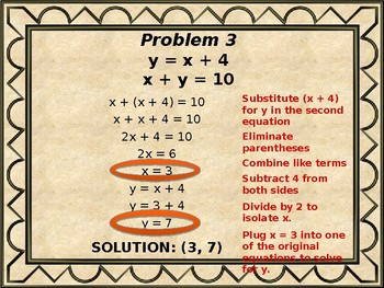 Solving Systems of Equation by Substitution - Powerpoint