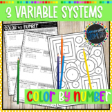 Solving Systems of Equations 3 Variables Color By Number; Algebra 2, Pre-Cal