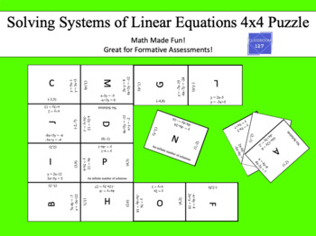 Solving Systems of Equations:  4 x 4 Puzzle